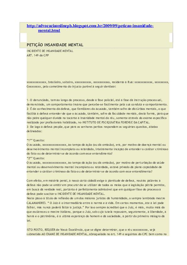 Doc Modelo Peticao De Insanidade Mental Em 11102013