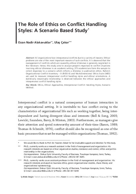 PDF) THE ROLE OF ETHICS ON CONFLICT HANDLING STYLES: A SCENARIO