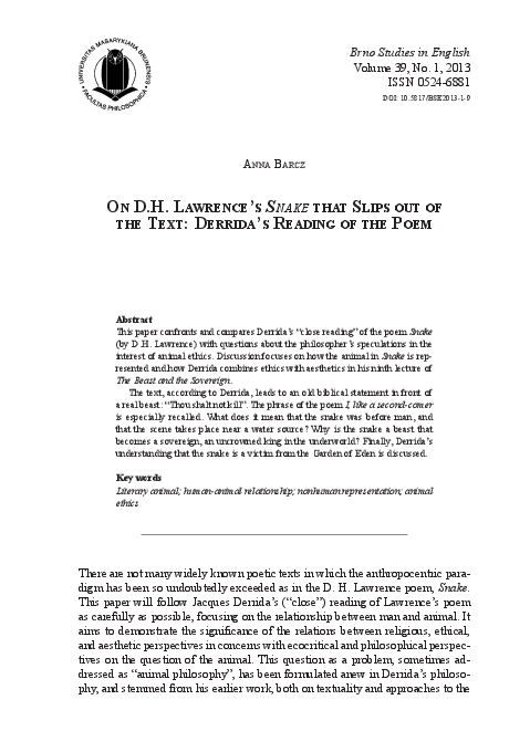 Pdf On Dh Lawrences Snake That Slips Out Of The Text