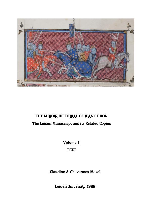 The Miroir historial of Jean le Bon  The Leiden Manuscript