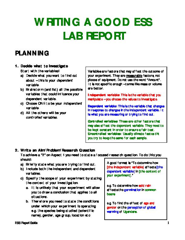 PDF) ESS Report Guide WRITING A GOOD ESS LAB REPORT | yakuza