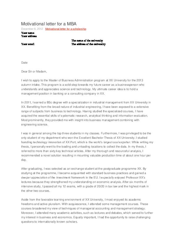 Doc Motivational Letter For A Mba December 8 2012 Motivational