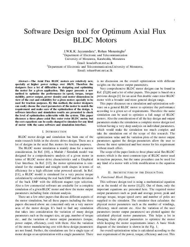 PDF) Software Design Tool for Optimum Axial Flux BLDC Motors