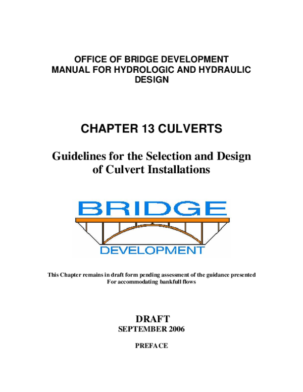 PDF) OFFICE OF BRIDGE DEVELOPMENT MANUAL FOR HYDROLOGIC AND