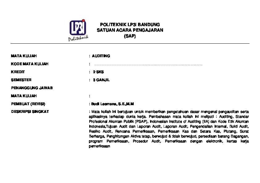 Pdf Modul Auditing Budi Lesmana Academia Edu