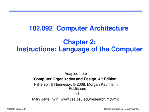 Pdf Adapted From Computer Organization And Design 4 Th Edition Pinar Solak Academia Edu
