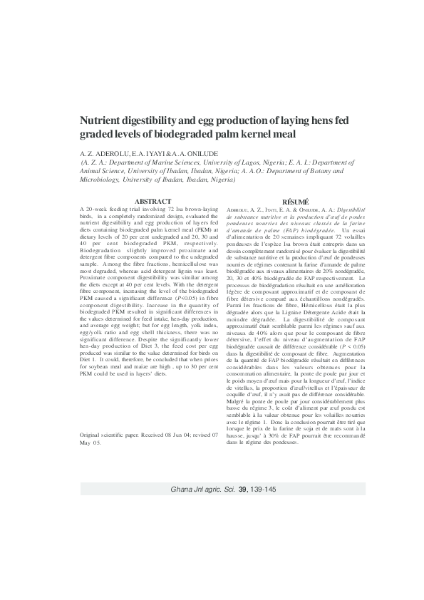 PDF) Nutrient Digestibility and Egg Production of Laying Hens Fed