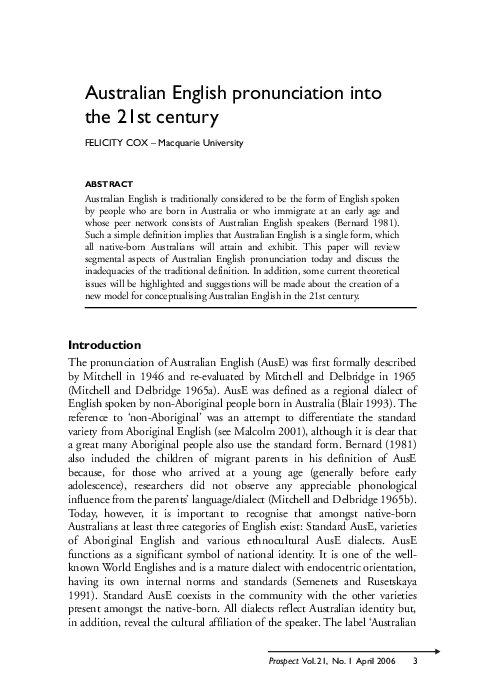 Pdf Australian English Pronunciation Into The 21st Century Khiet Tuong Chu Academia Edu