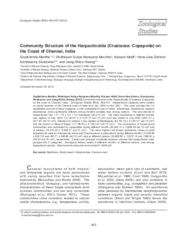 Community structure of Harpacticoida (Crustacea: Copepoda) from the