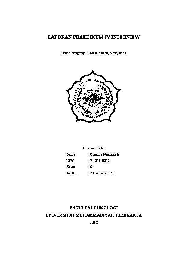 Doc Laporan Praktikum Iv Interview Chandra Meiriska Krisnaningrum Academia Edu