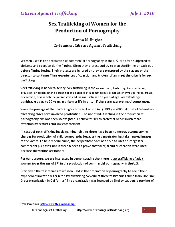 PDF) Sex Trafficking of Women for the Production of ...