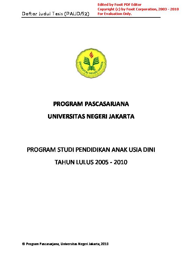 Pdf Daftar Judul Tesis Paud S2 Adnan 9450 Academia Edu