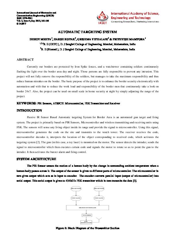 PDF) AUTOMATIC TARGETING SYSTEM | Harsh Kotak - Academia edu