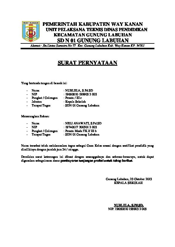 Doc Pemerintah Kabupaten Way Kanan Unit Pelaksana Teknis Dinas Pendidikan Kecamatan Gunung Labuhan Sd N 01 Gunung Labuhan Alamat Jln Lintas Sumatra No 77 Kec Marzuki Alfian Academia Edu