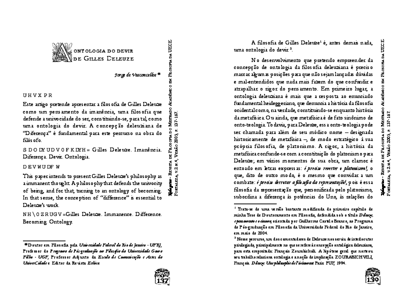 A ontologia do devir de Gilles Deleuze   Jorge Vasconcellos ... 49c0fd08ea