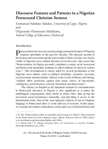 PDF) Discourse Features and Patterns in a Nigerian