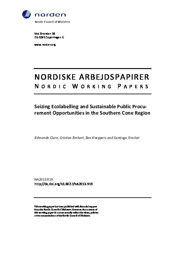 PDF) Seizing Ecolabelling and Sustainable Public Procurement