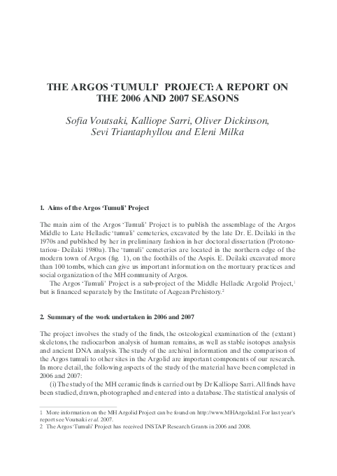 PDF) The Argos 'Tumuli' Project: a report on the 2006 and 2007