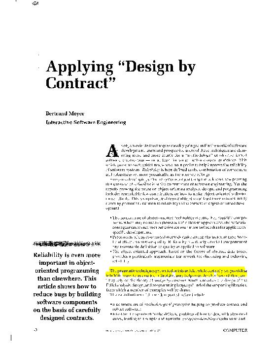 Pdf Applying Design By Contract Mitrabinda Ray Academia Edu