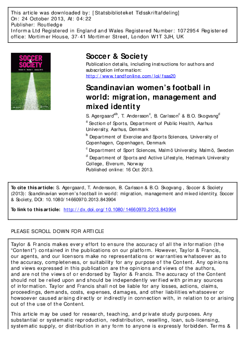 bb1dedd3 PDF) Special issue of Soccer & Society from the Nordcorp group ...