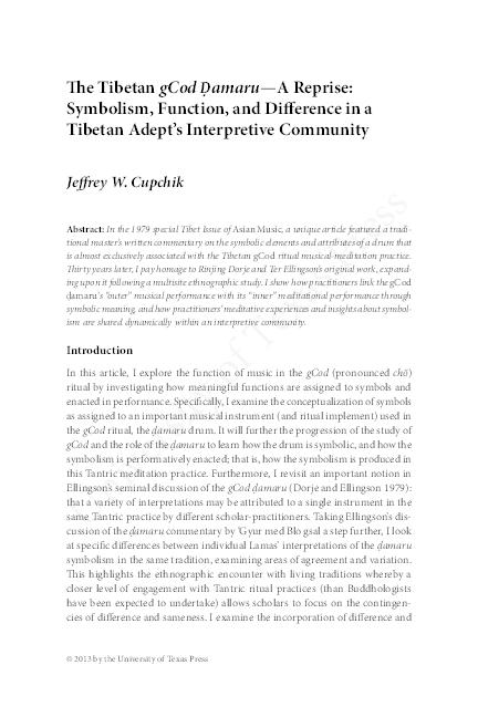 PDF) The Tibetan gCod Ḍamaru—A Reprise: Symbolism, Function