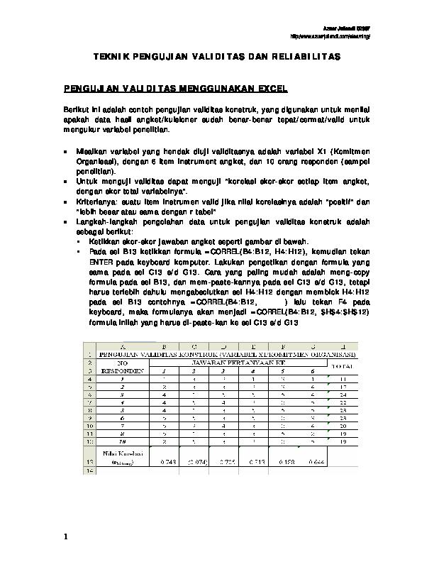 Pdf Teknik Pengujian Validitas Dan Reliabilitas Pengujian Validitas Menggunakan Excel Wawan Riyanta Academia Edu