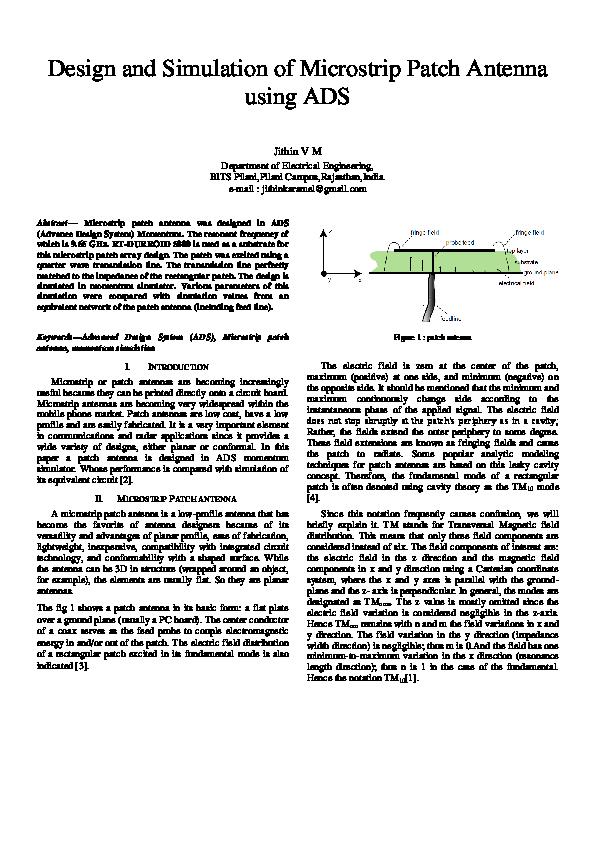 Pdf Design And Simulation Of Microstrip Patch Antenna Using Ads Ekku Kml Academia Edu