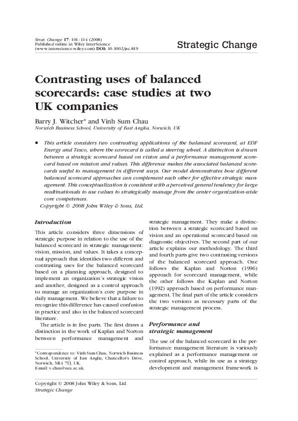 PDF) Contrasting uses of balanced scorecards: case studies