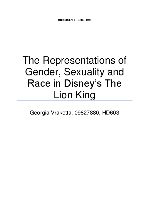 DOC) The Representations of Gender, Sexuality and Race in