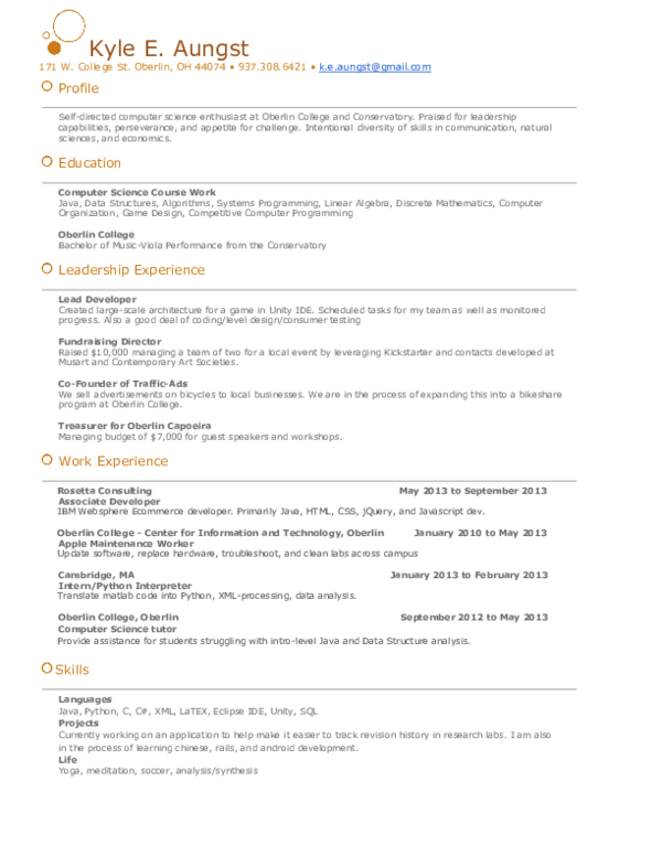PDF) Kyle's Sweet Resume | Kyle Aungst - Academia edu