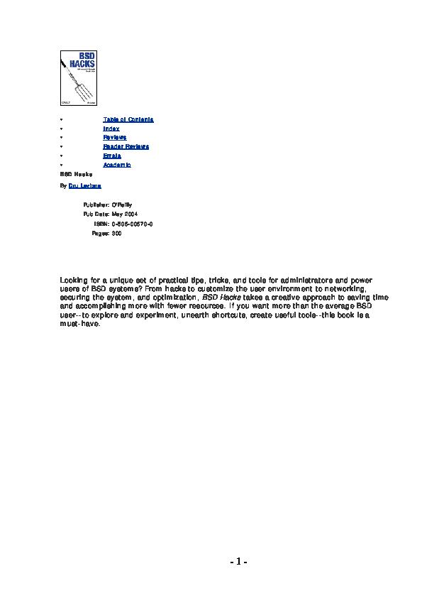 PDF) BSD Hacks - 100 Industrial-Strength Tips & Tools 2004
