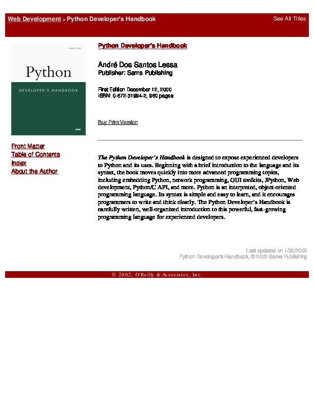 Pdf Python Developer S Handbook Isromi Janwar Academia Edu