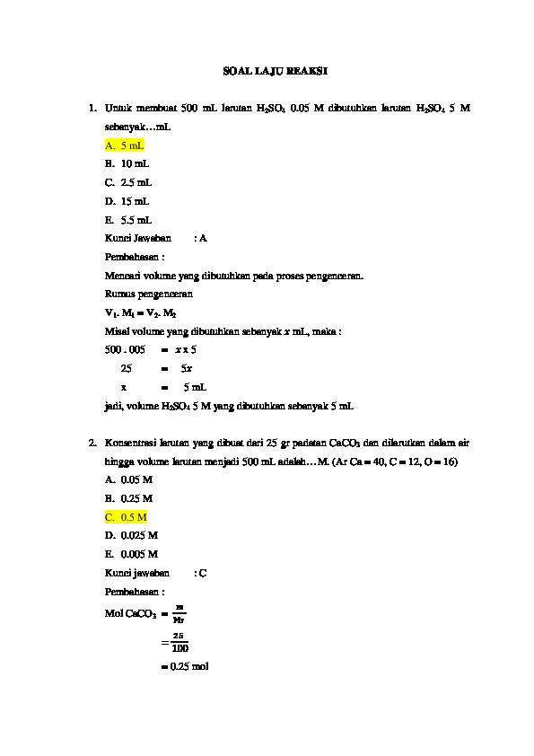 Pdf Soal Laju Reaksi Fitria Azis Academia Edu