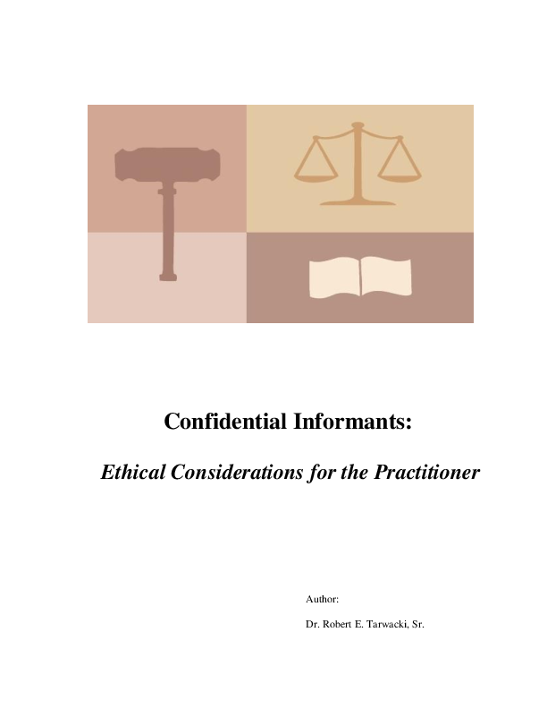 PDF) Confidential Informants: Ethical Considerations for the