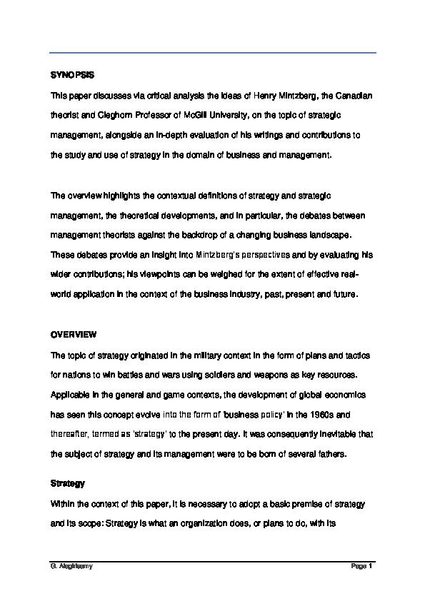 Pdf Henry Mintzberg On Strategic Management Geetha Alagirisamy Academia Edu