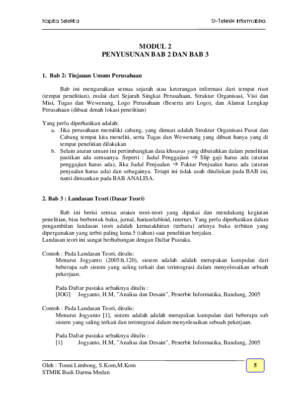 Contoh Skripsi Bab 2 Kajian Teori Ide Judul Skripsi Universitas