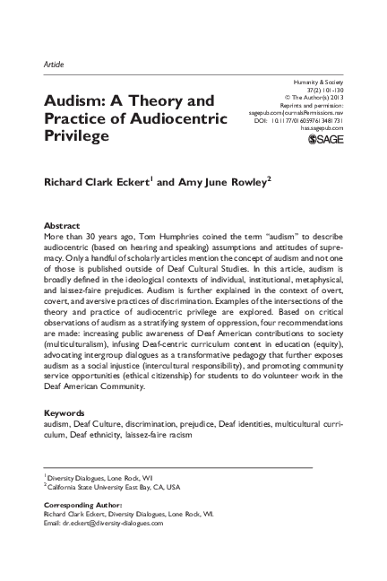 PDF) Audism: A Theory and Practice of Audiocentric Privilege