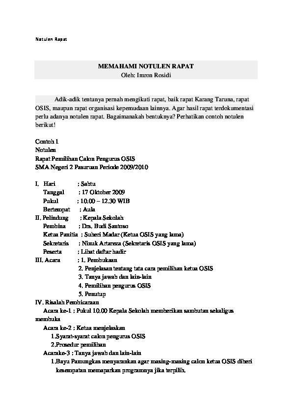 Doc Notulen Rapat Memahami Notulen Rapat Oleh Imron Rosidi Eko Prianggono Academia Edu