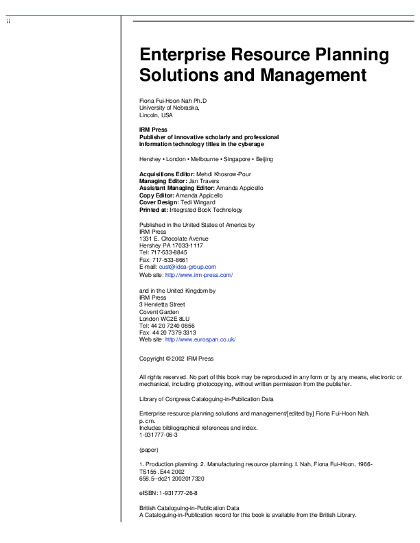 PDF) Enterprise Resource Planning Solutions and Management