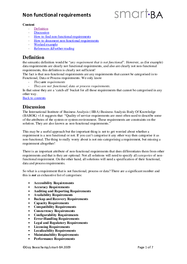 PDF) Non functional requirements Content -Definition -Discussion