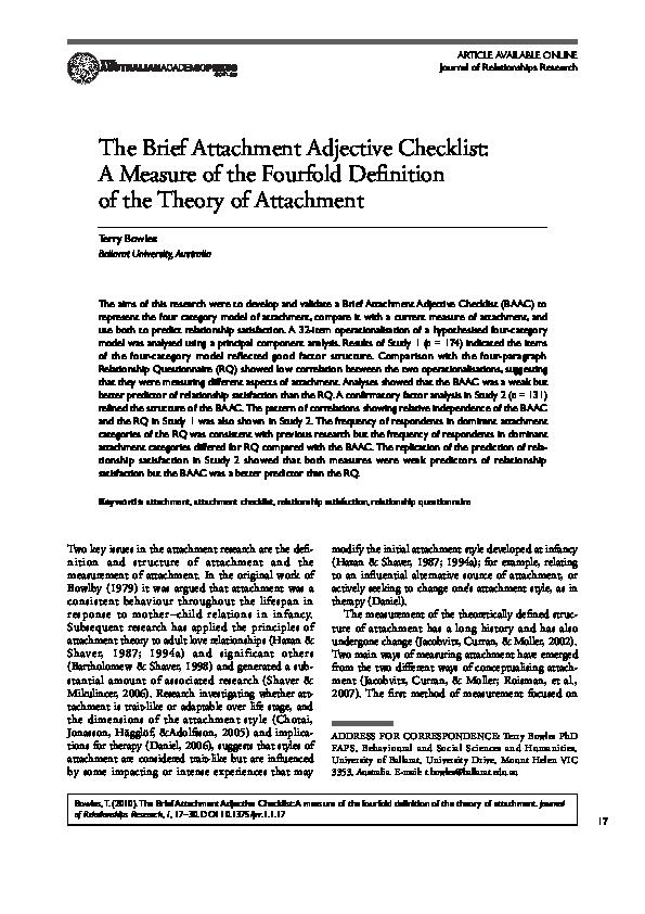 PDF) The Brief Attachment Adjective Checklist: A Measure of