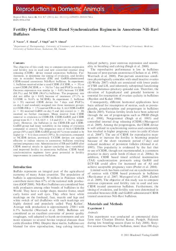 PDF) Fertility Following CIDR Based Synchronization Regimens