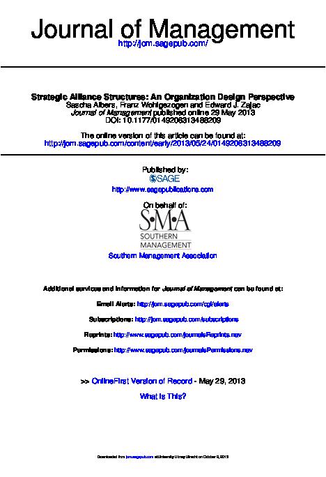 Pdf Strategic Alliance Structures An Organization Design Perspective On Behalf Of Southern Management Association Nguyen Thanh Tuan Academia Edu