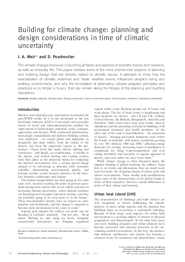 PDF) Building for climate change: planning and design