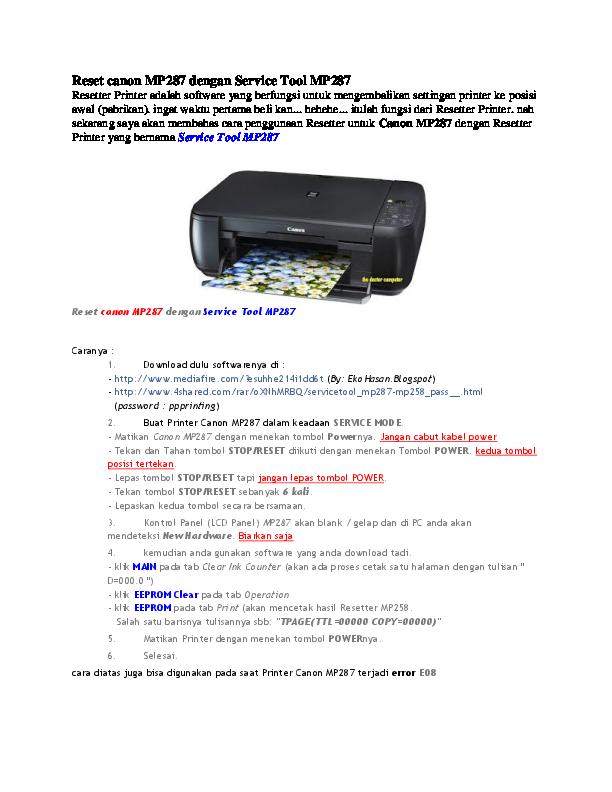 download service tool v3400 untuk printer canon mp287