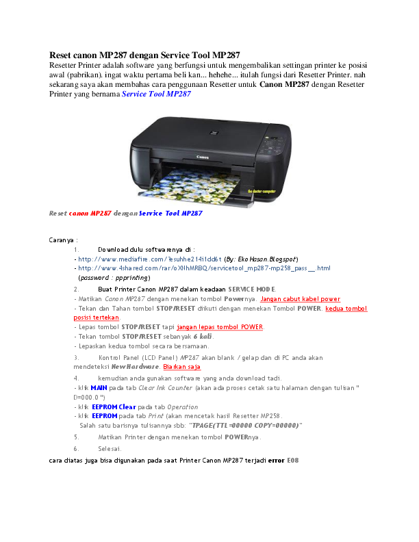 DOC) Reset canon MP287 dengan Service Tool | Bily Busro