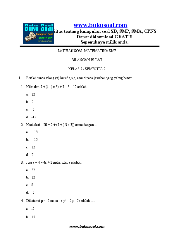 Doc 1 Latihan Soal Matematika Bilangan Bulat Smp Rista Devi Academia Edu