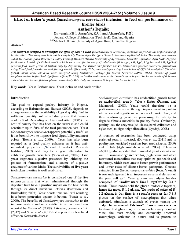 PDF) Effect of Baker's yeast (Saccharomyces cerevisiae