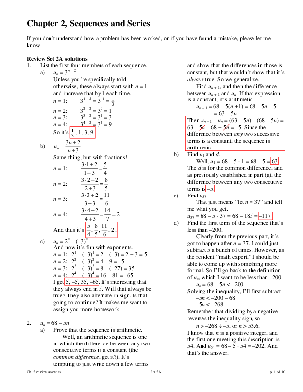 PDF) Chapter 2, Sequences and Series | alejandro Sengés