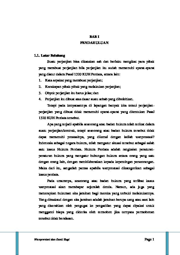 Doc Wanprestasi Dan Ganti Rugi Heris Suhendar Academia Edu